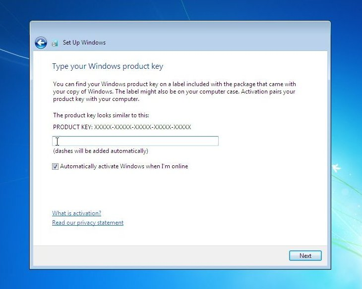 """Dashes will be added automatically), """"Automatically activate Windows ..."""