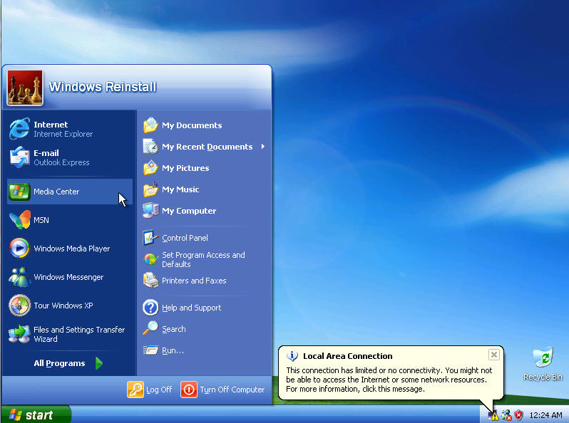 Windows XP Media Center (MCE) setup