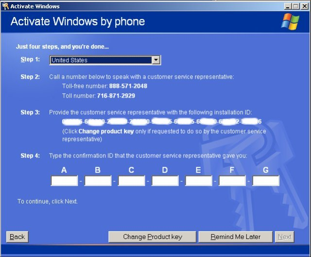 How to Register and Activate Windows over the Telephone