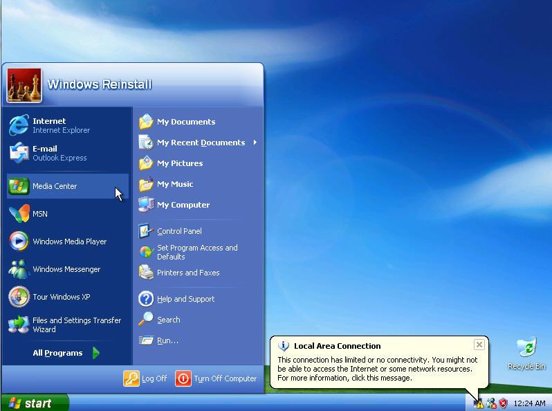 Windows xp media center run from cd 2015